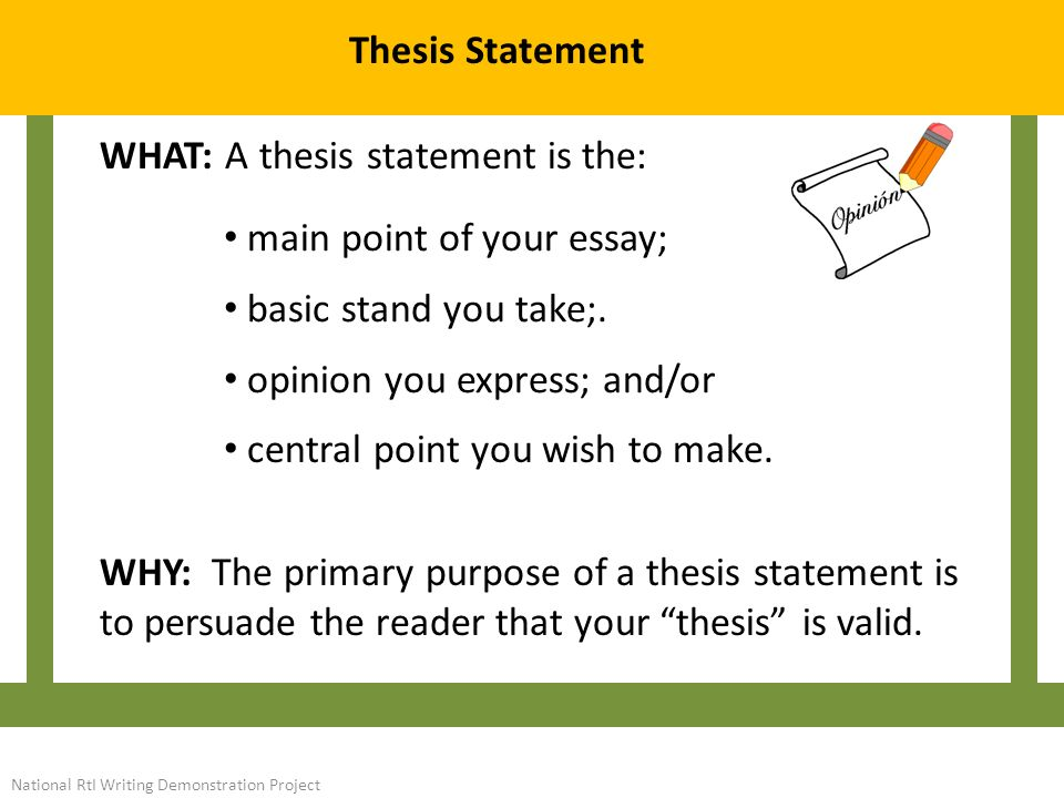 The thesis statement's primary purpose is to