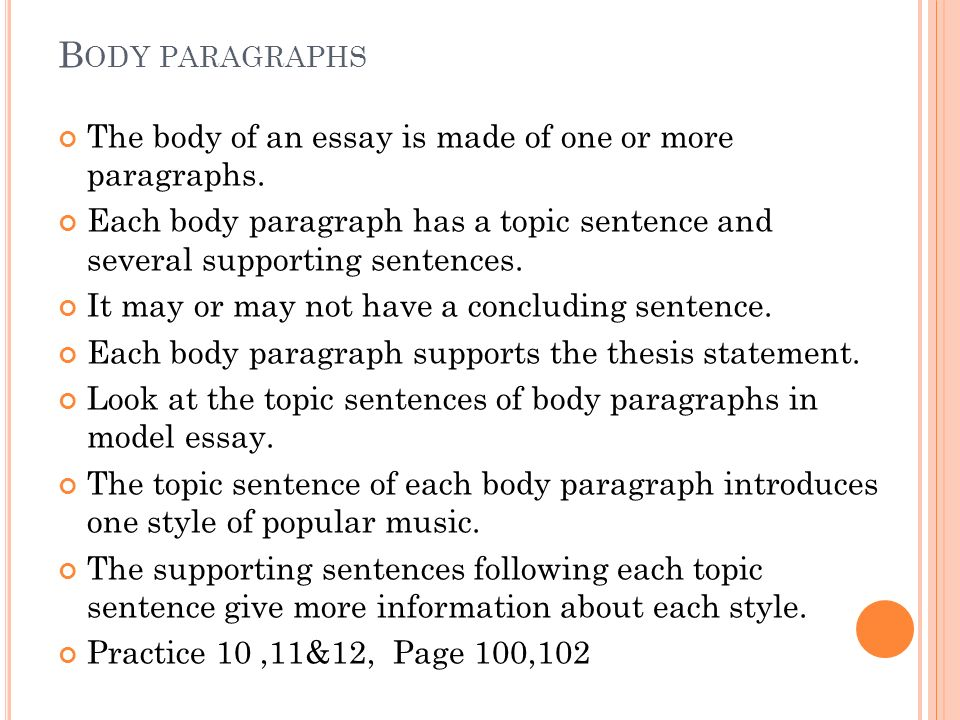 order of body paragraphs in essay