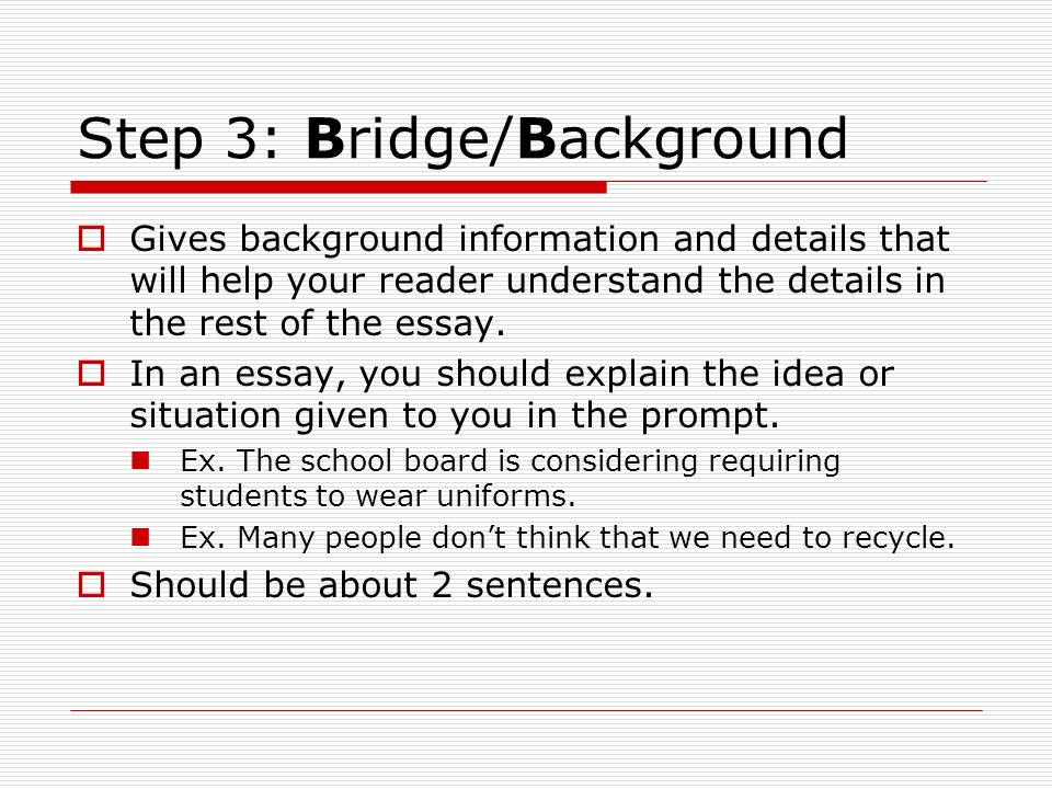 how to write a bridge statement definition