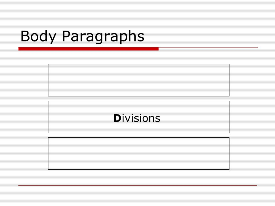 Body Paragraphs Divisions
