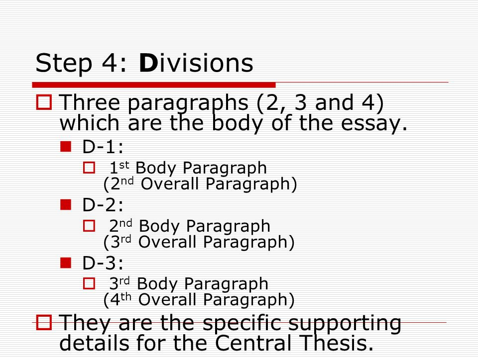 Step 4: Divisions Three paragraphs (2, 3 and 4) which are the body of the essay. D-1: 1st Body Paragraph (2nd Overall Paragraph)