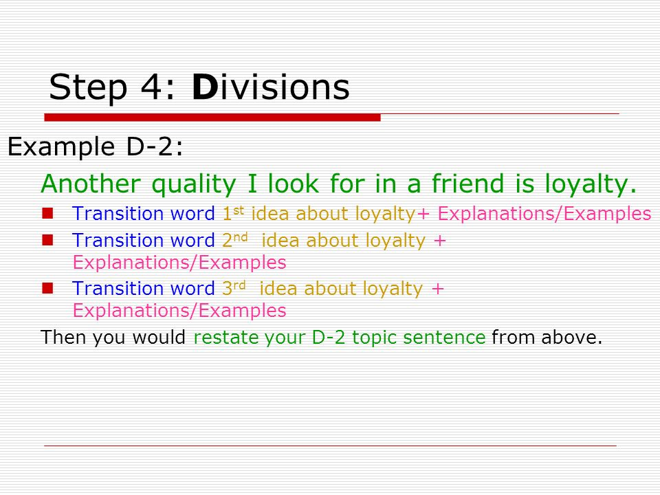 Step 4: Divisions Example D-2: