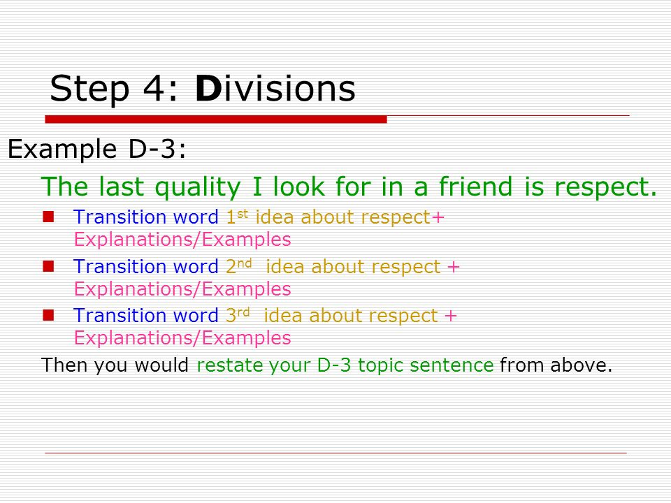 Step 4: Divisions Example D-3: