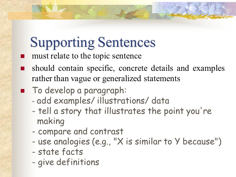 Supporting Sentences must relate to the topic sentence