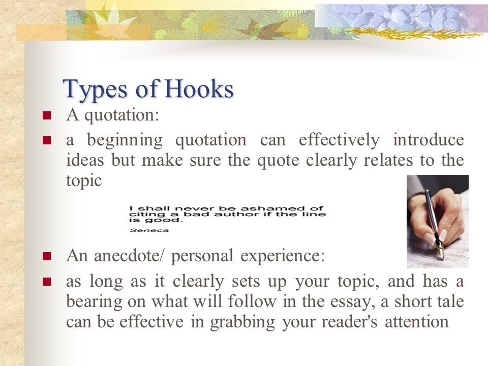 Types of Hooks A quotation: