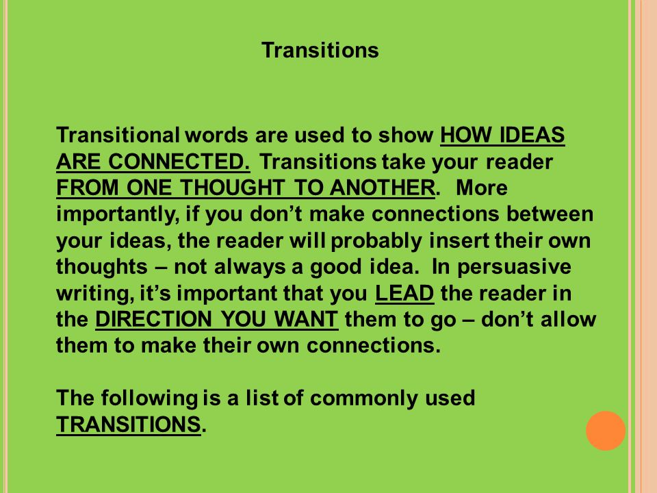 What are transitions in an essay and how are they used