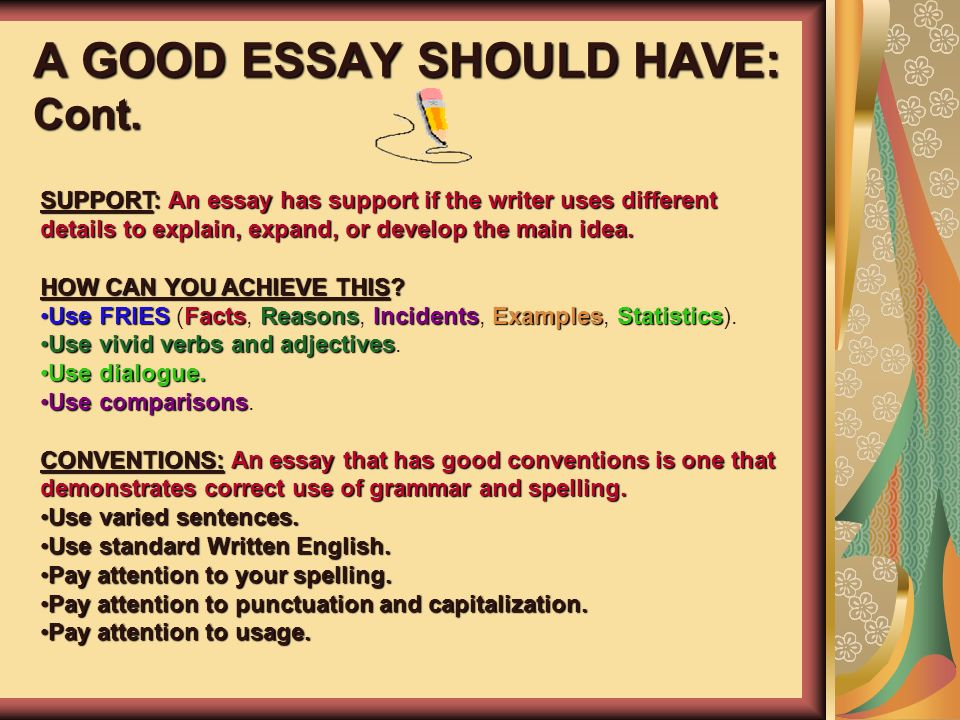 esol and language arts teacher ppt a good essay should have cont