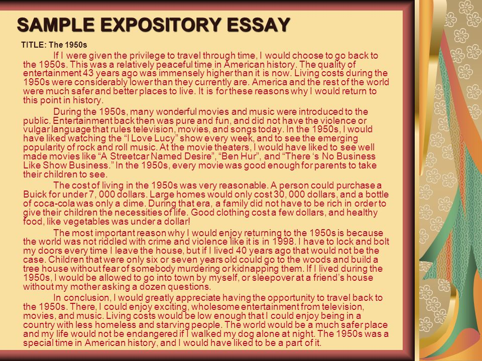 Rough draft of an expository essay