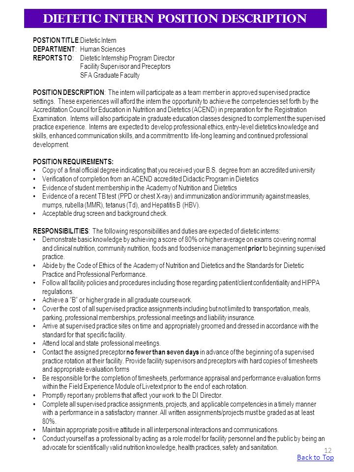 Sample dietitian job description 9 examples in word pdf