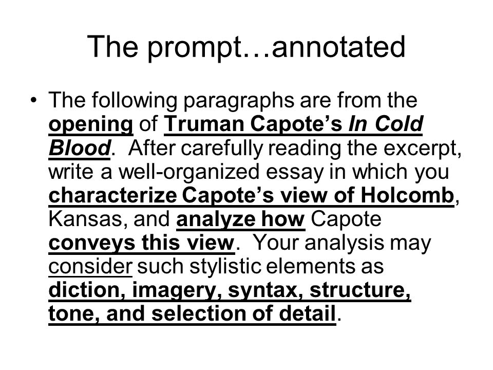 In Cold Blood Essay Sample