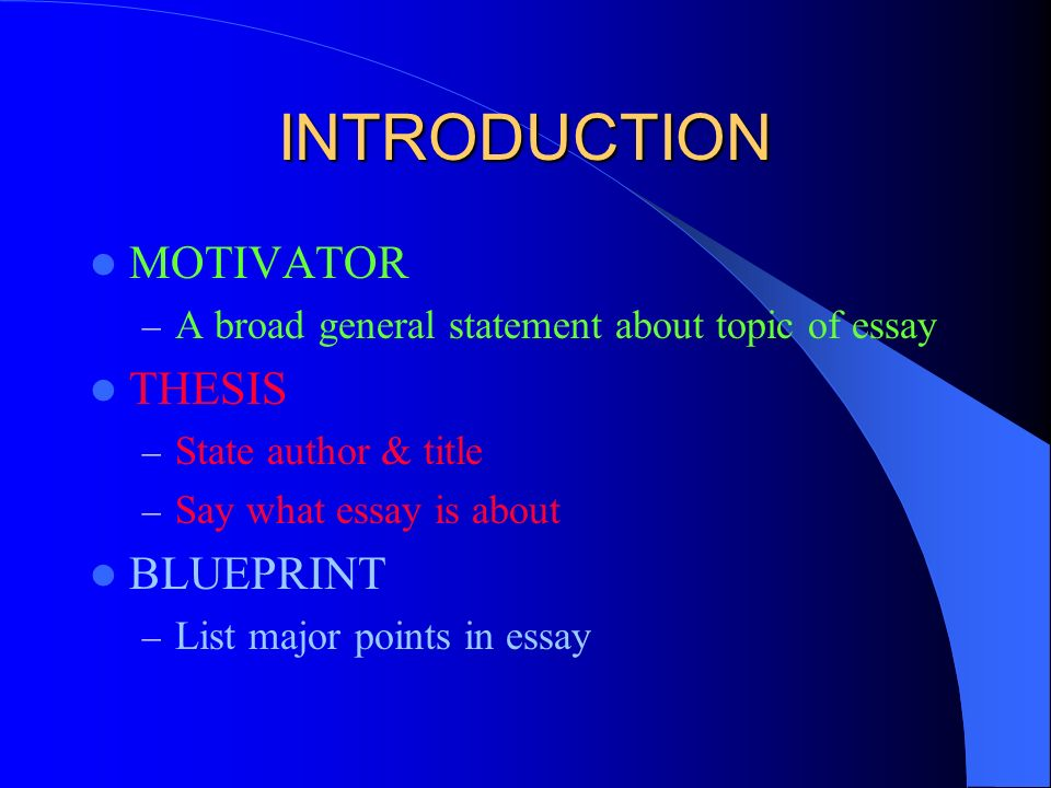 thesis statement and blueprint This resource provides tips for creating a thesis statement and examples of different types of thesis statements.