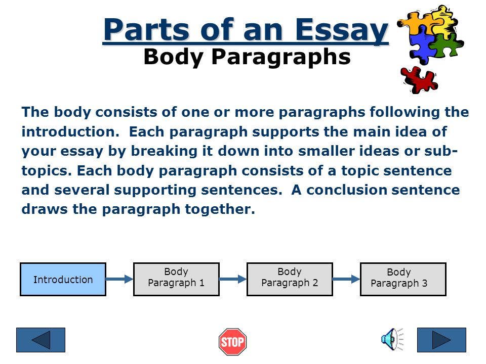 essay parts body Essay writing for standardized tests: tips for writing a five paragraph essay  these three paragraphs form the body of the essay they provide details, such as.