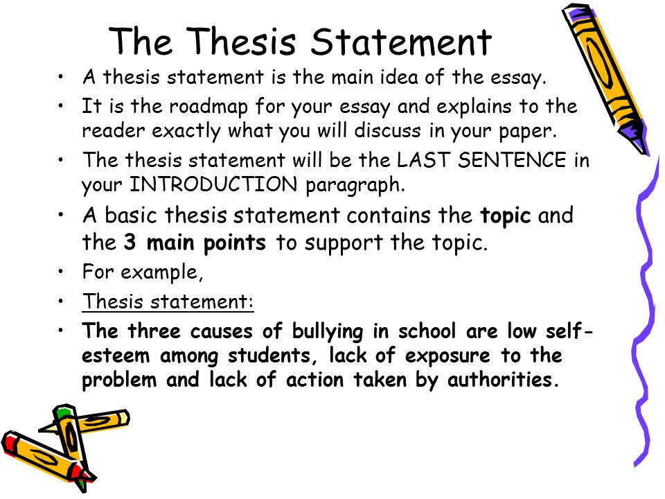 The Thesis Statement A thesis statement is the main idea of the essay.