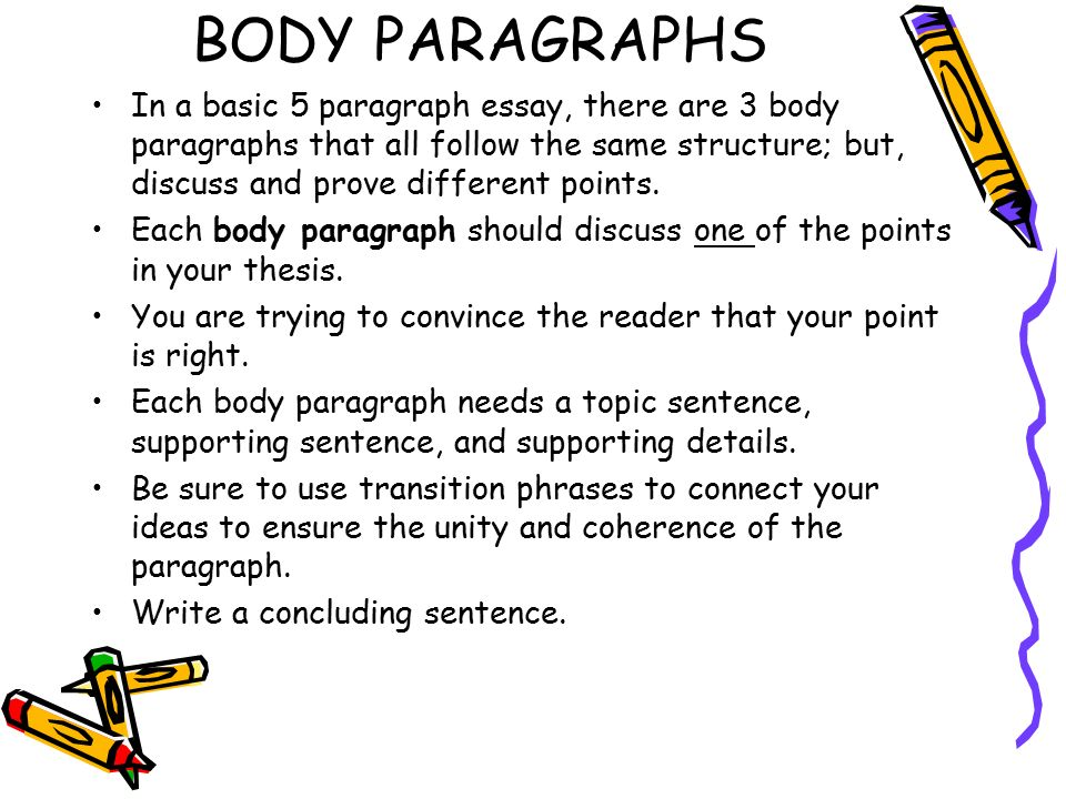 write 3 body paragraph essay In ielts writing task 2 we'll help you write a great body paragraph follow our steps for a 7 or higher on this part of the ielts.