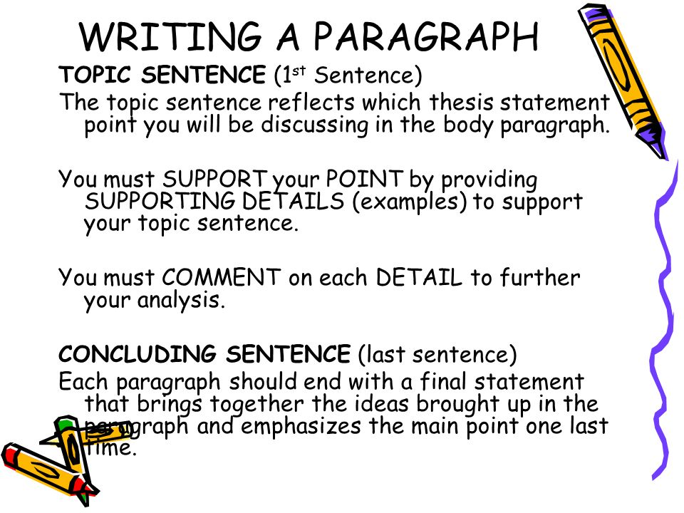 WRITING A PARAGRAPH TOPIC SENTENCE (1st Sentence)