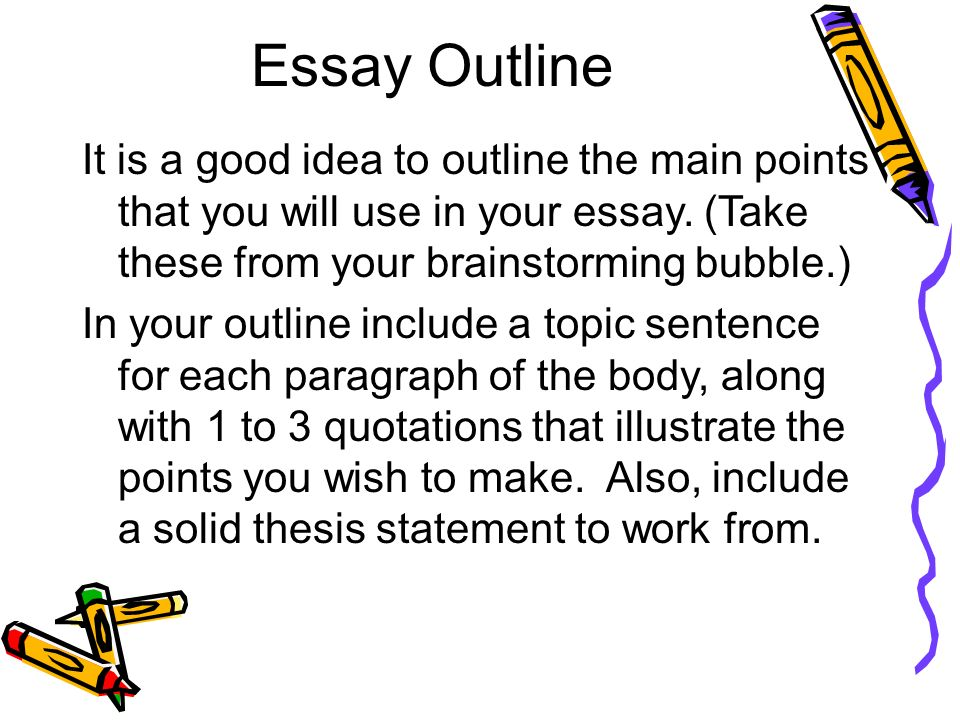 essay outlining activities 1 introduce the reasons for organizing an essay and the intersection between a thesis statement, an outline, and the various stages of writing (5 minutes.