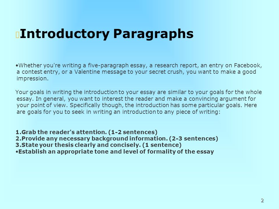 good intro paragraph for essay How to write a cause and effect essay that phenomenon or event at the beginning of your essay is a good model to follow each body paragraph should subsequently.
