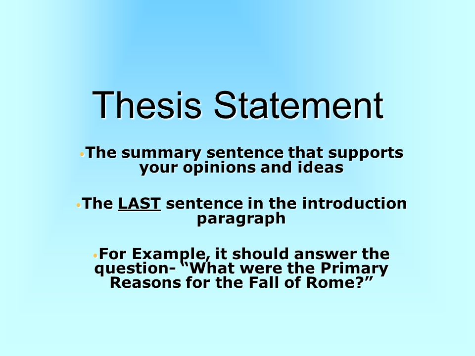 Perfect Thesis Statement Examples