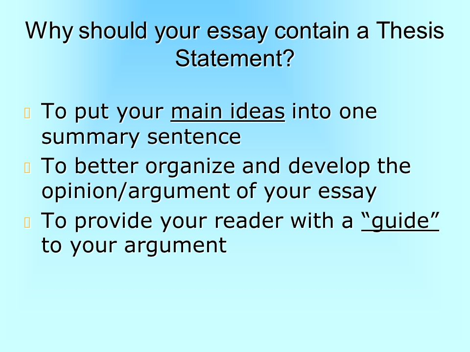 what should a thesis statement include