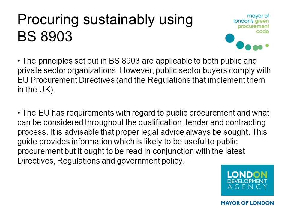 Procuring sustainably using BS 8903