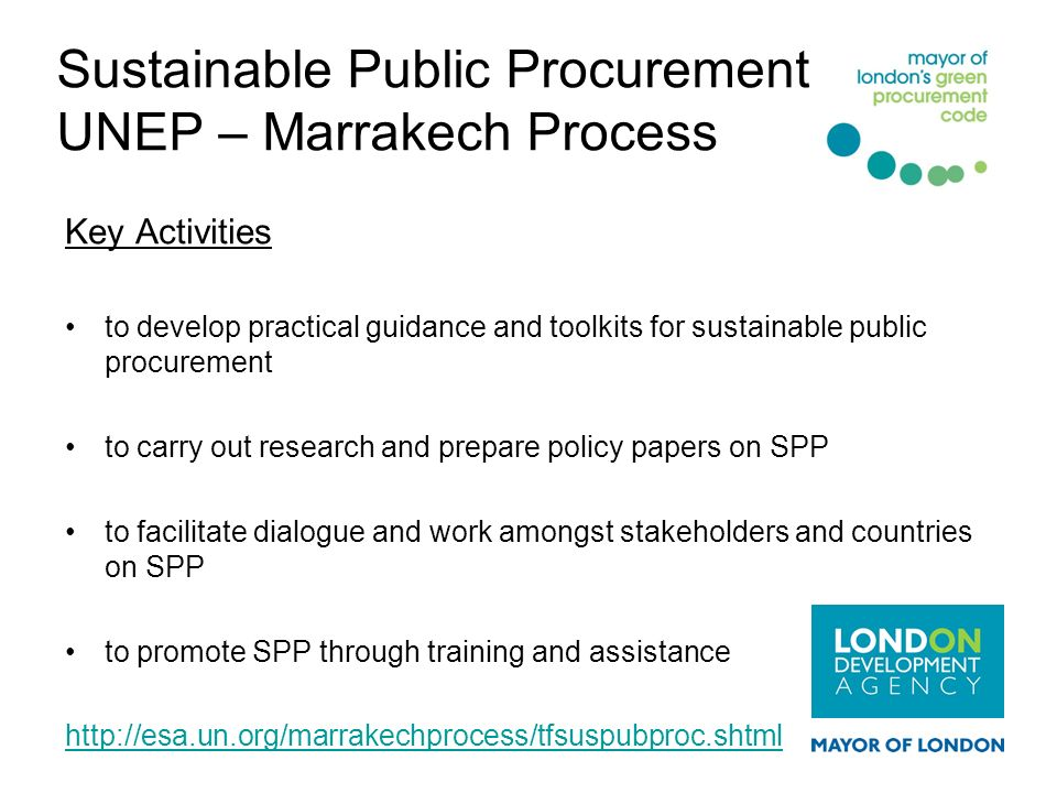 Sustainable Public Procurement UNEP – Marrakech Process