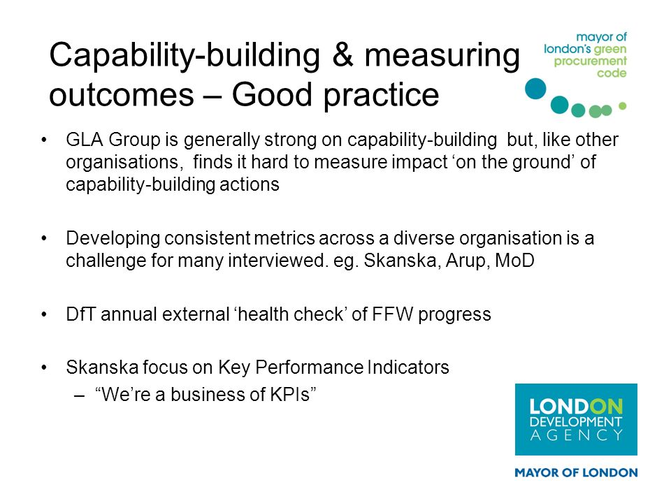 Capability-building & measuring outcomes – Good practice