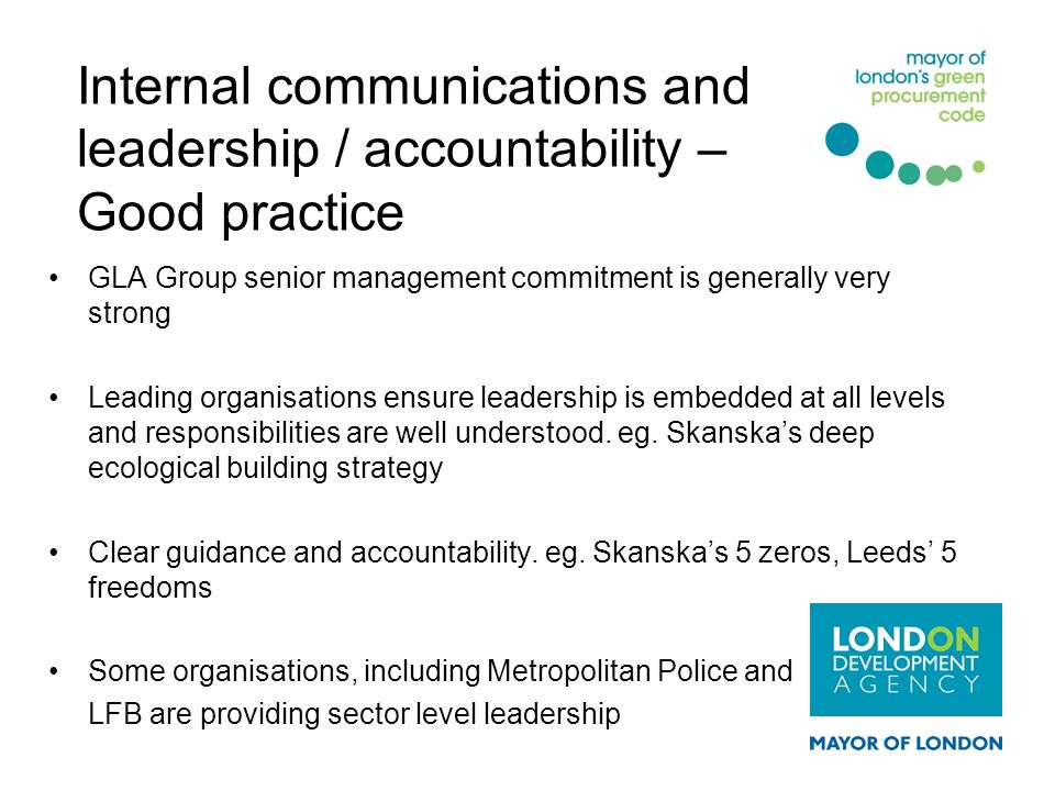 Internal communications and leadership / accountability – Good practice