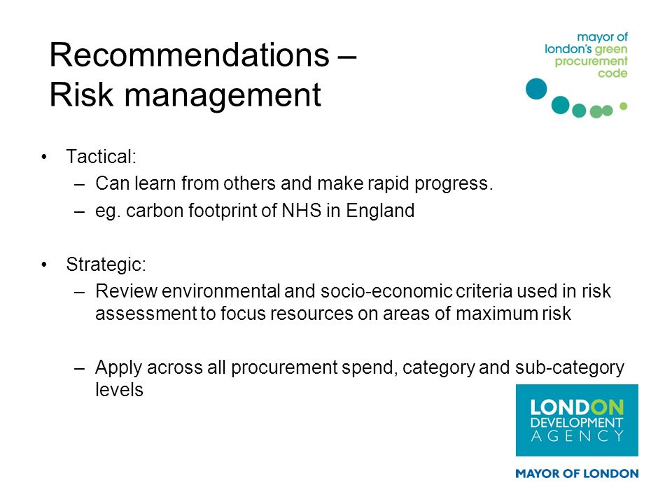 Recommendations – Risk management