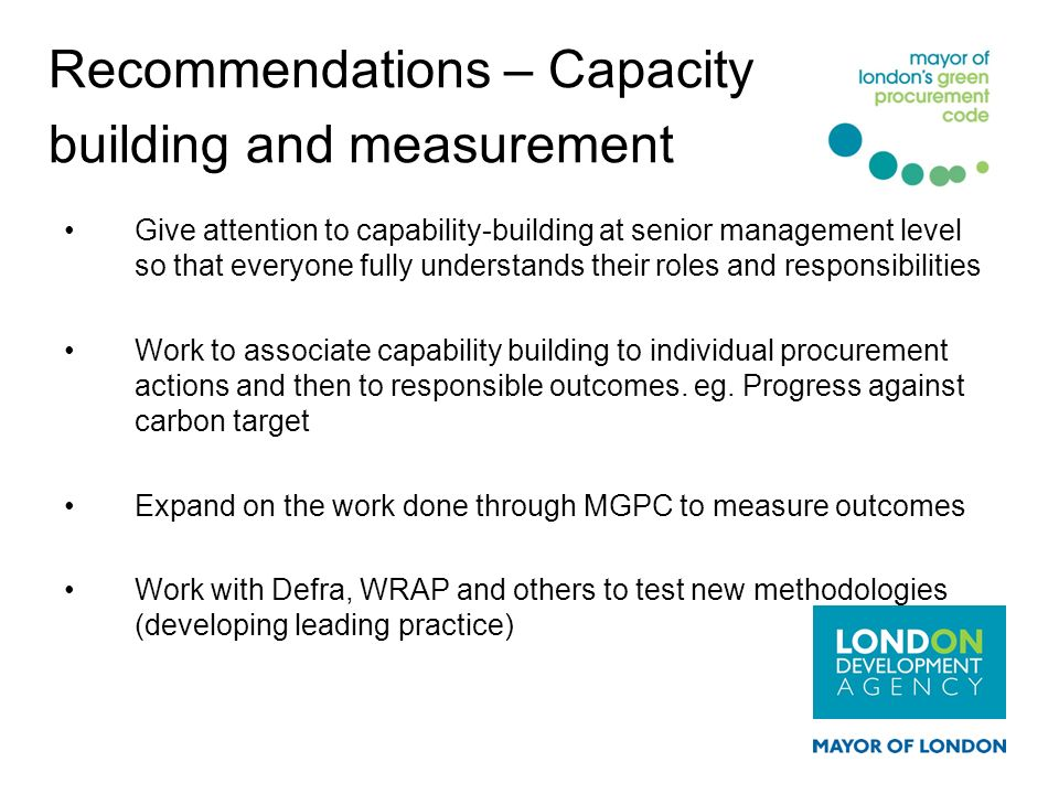 Recommendations – Capacity building and measurement