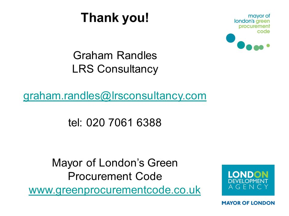 Mayor of London's Green Procurement Code