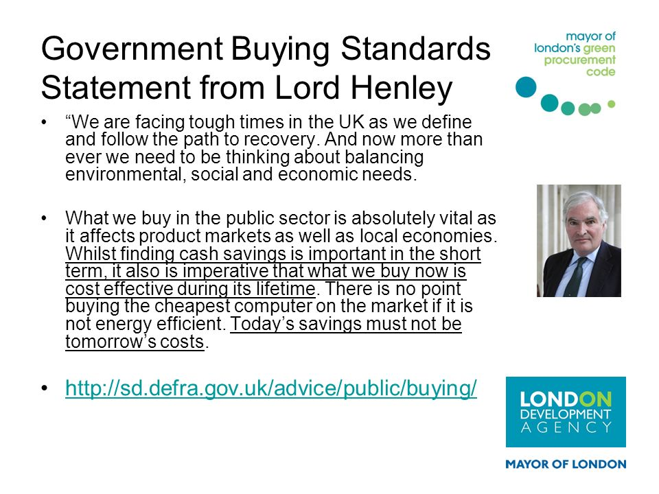Government Buying Standards Statement from Lord Henley
