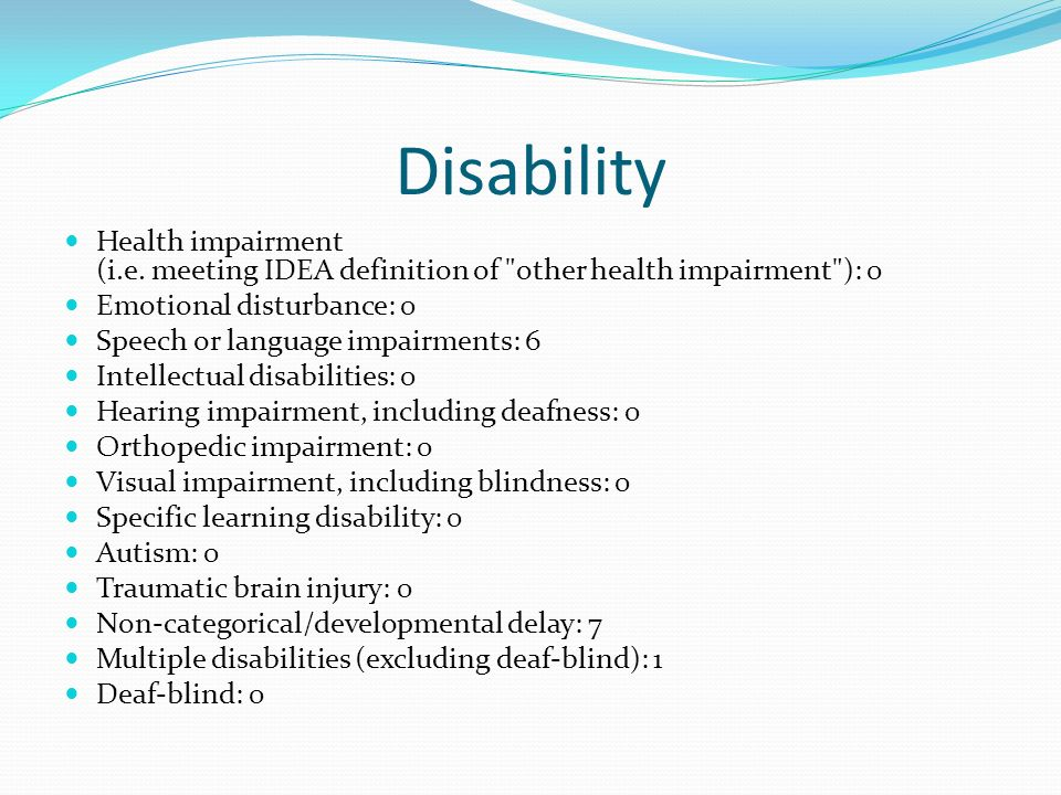 other health impairment This link is a topic overview of all of the categories that would qualify a student for accommodations under other health impairments of idea other health impairments basic overview this link provides a basic overview of ohi including eligibility, placement and service delivery.