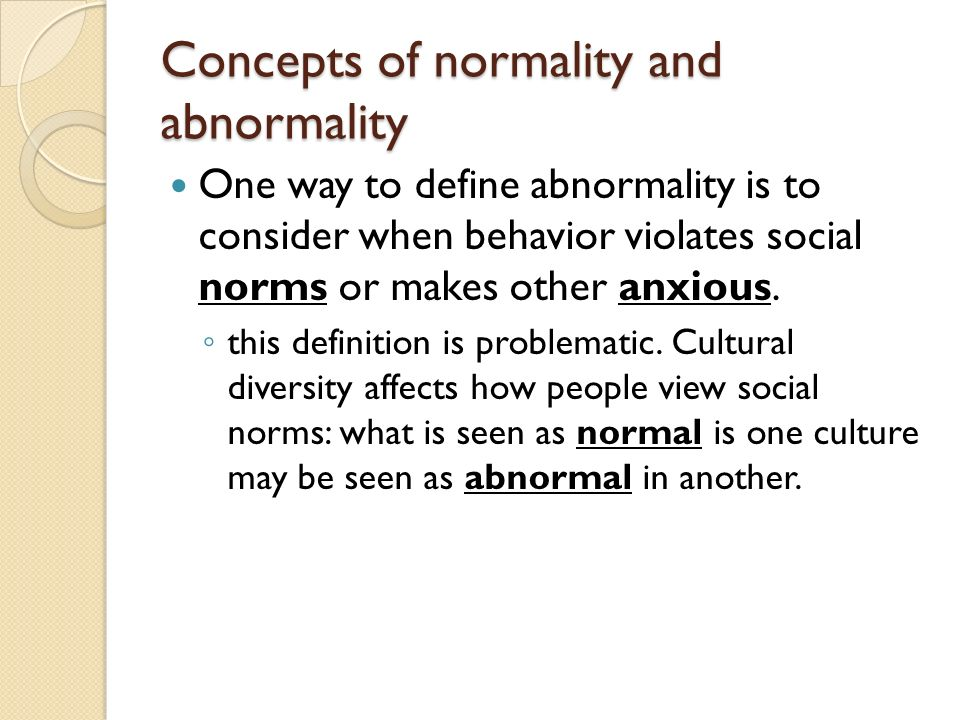 Who defines normality and abnormality