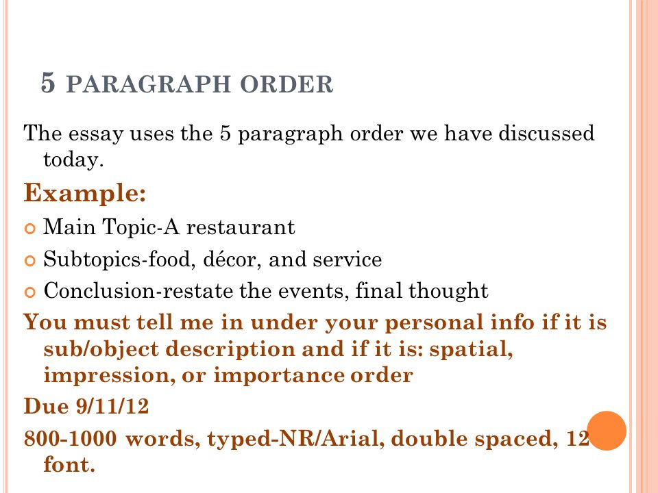 Paragraph order in essays