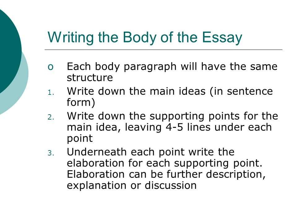 guidelines for writing a basic essay ppt  writing the body of the essay