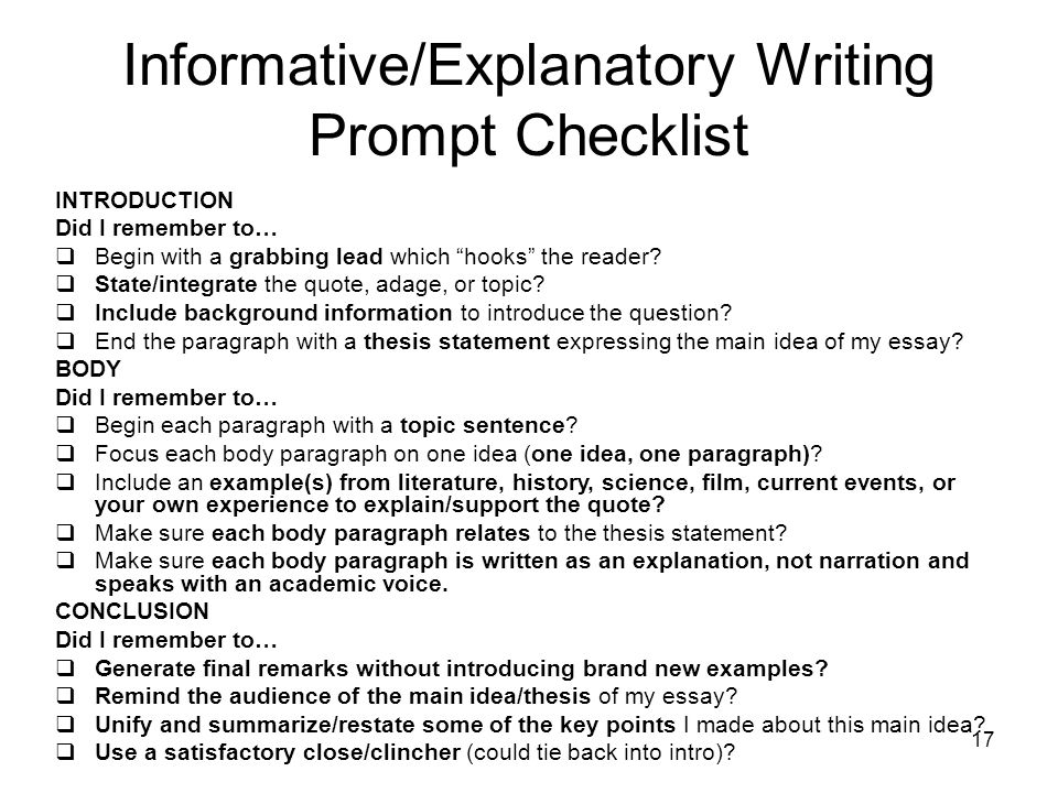 informative explanatory prompt essay based on a quote ppt video  17 informative explanatory writing prompt checklist