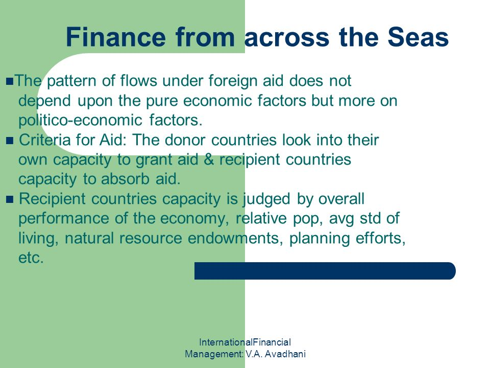 Finance from across the Seas