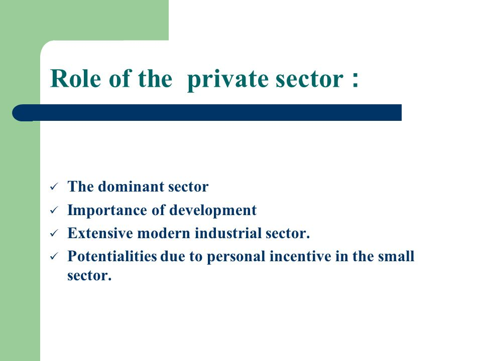 Role of the private sector :