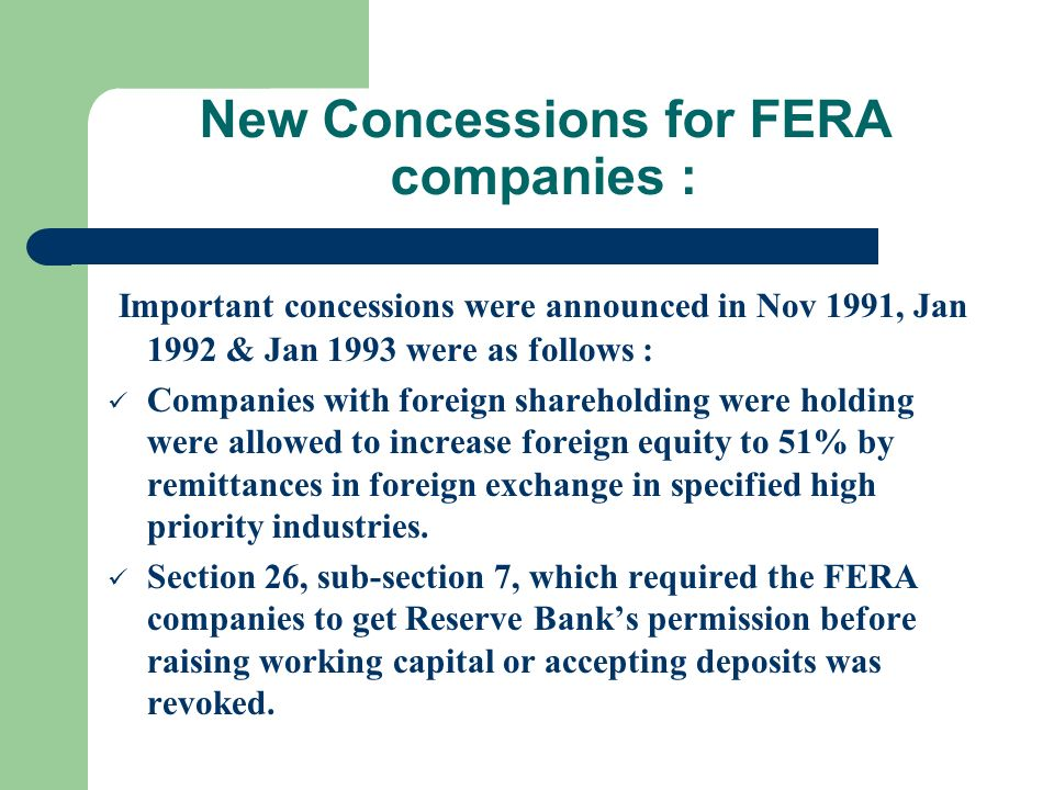 New Concessions for FERA companies :