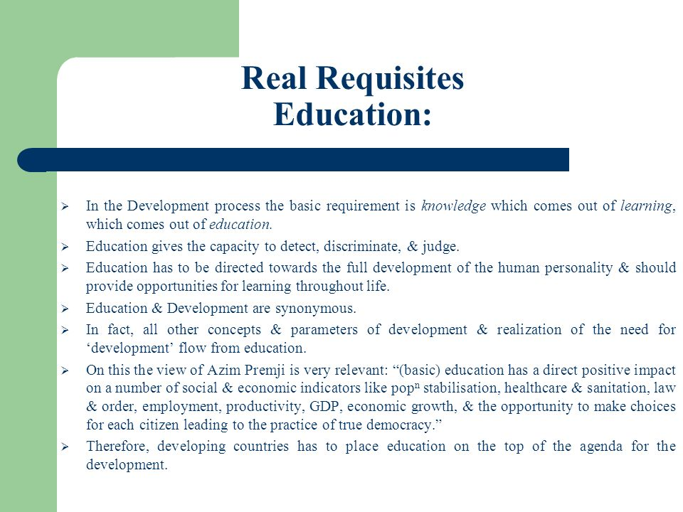 Real Requisites Education:
