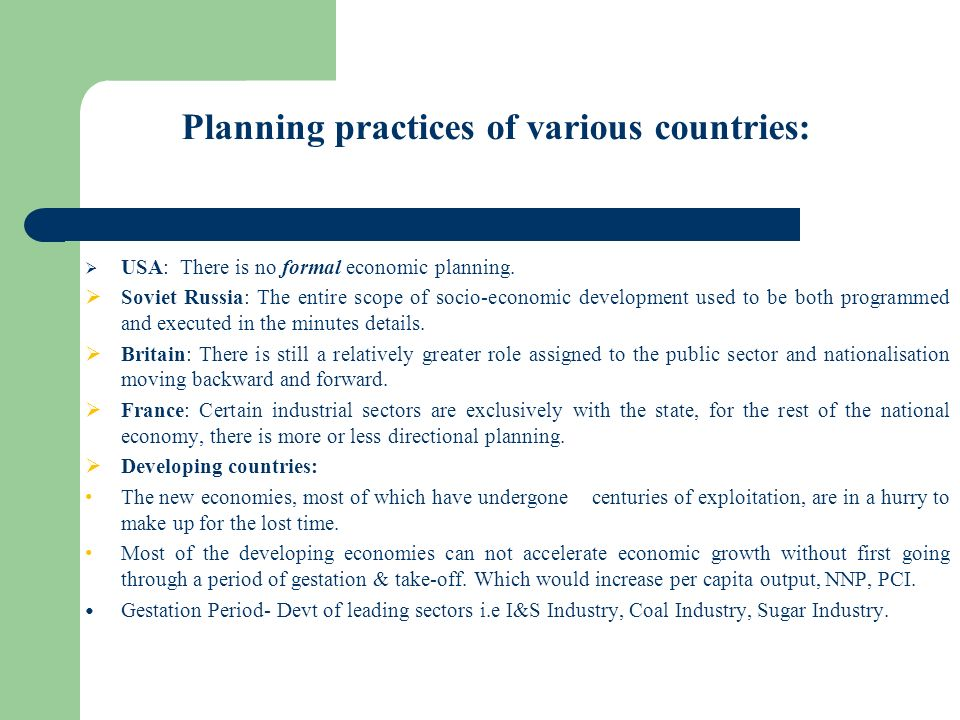 Planning practices of various countries: