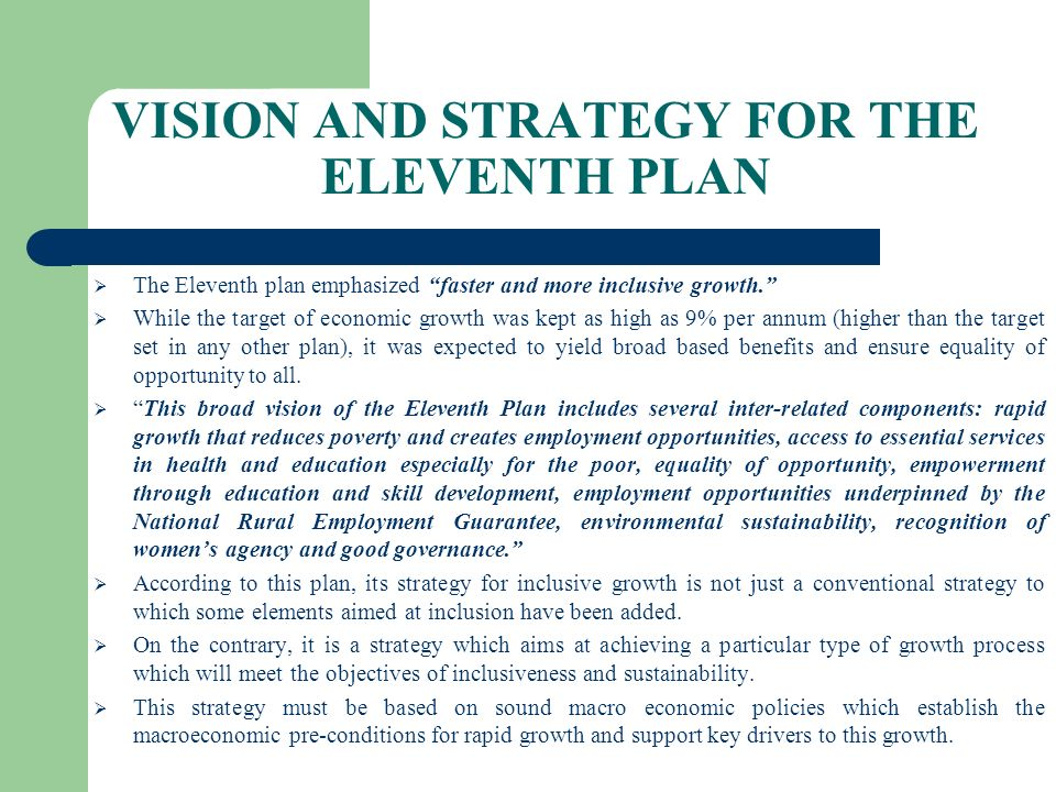 VISION AND STRATEGY FOR THE ELEVENTH PLAN