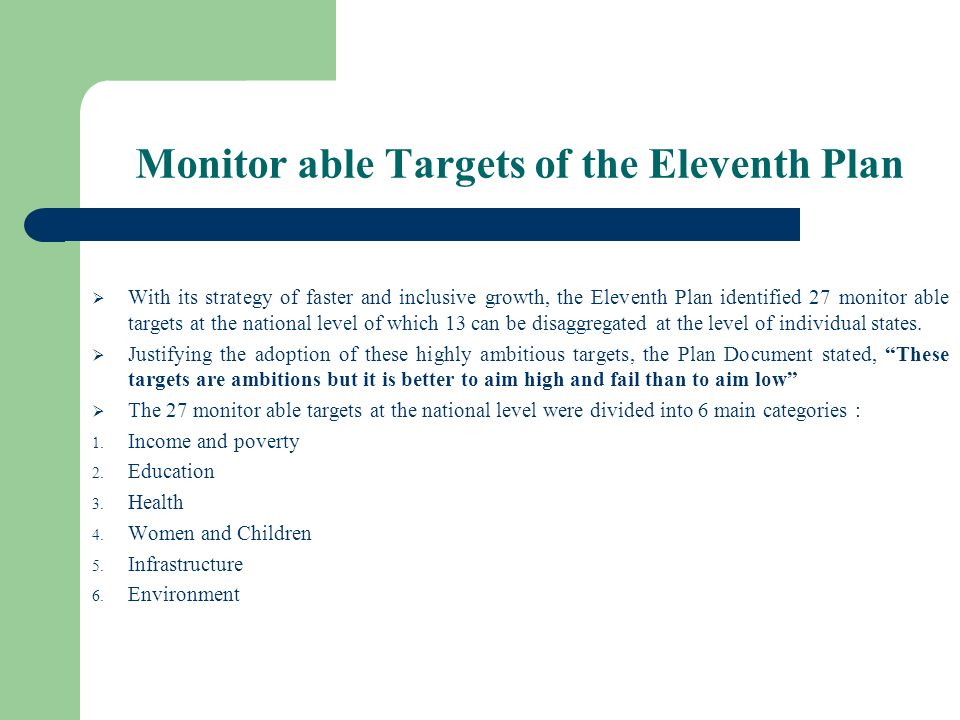 Monitor able Targets of the Eleventh Plan