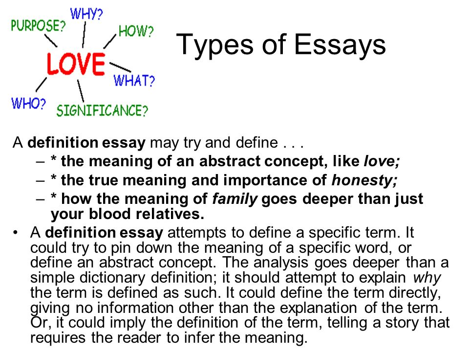 2. what is essay define the types of essays Writing a compare and contrast essay this type of essay is basically a composition, which is concentrated on two points the compare and contrast essay reveals the differences and the similarities of these two points, things, situations, etc.