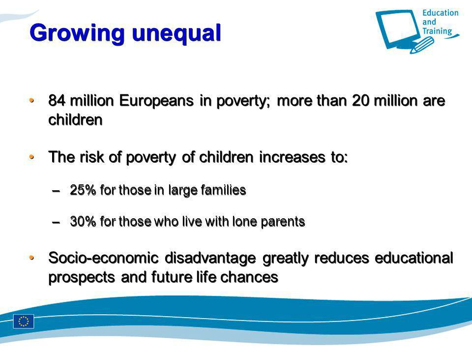 Growing unequal 84 million Europeans in poverty; more than 20 million are children. The risk of poverty of children increases to: