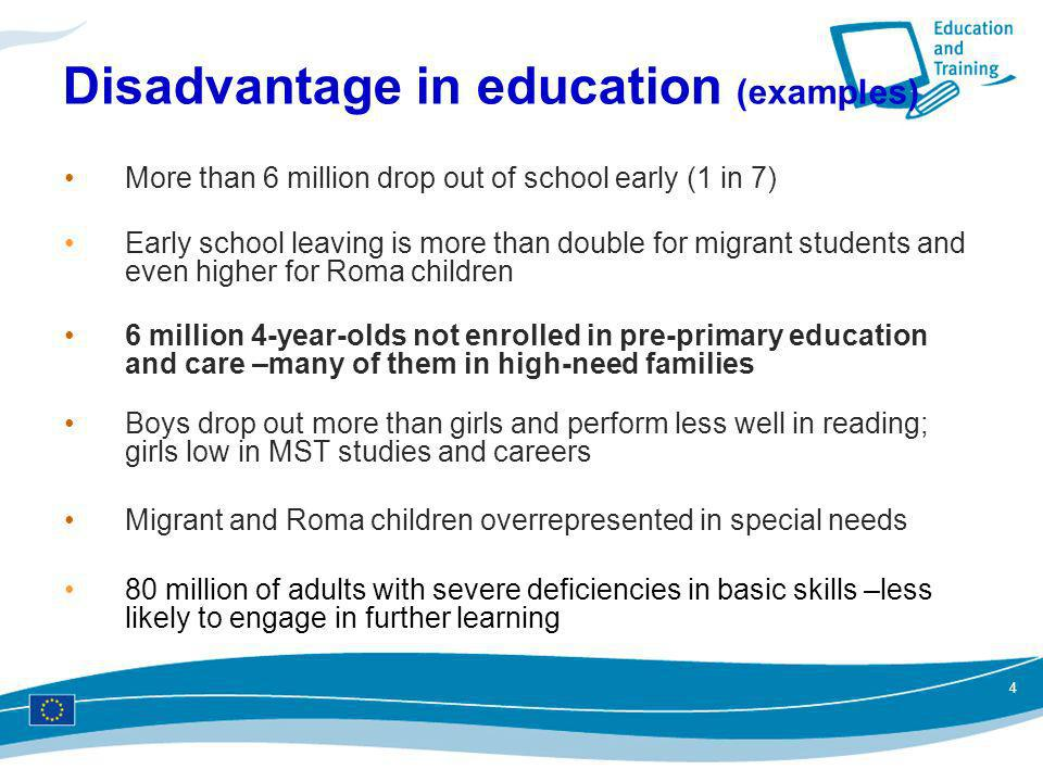 Disadvantage in education (examples)