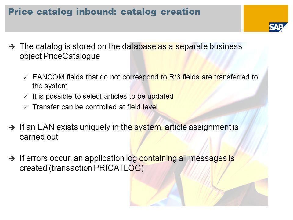 Price catalog inbound: catalog creation