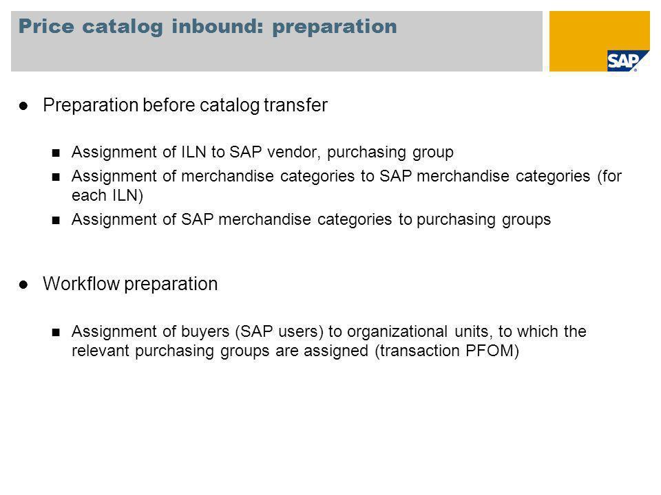 Price catalog inbound: preparation