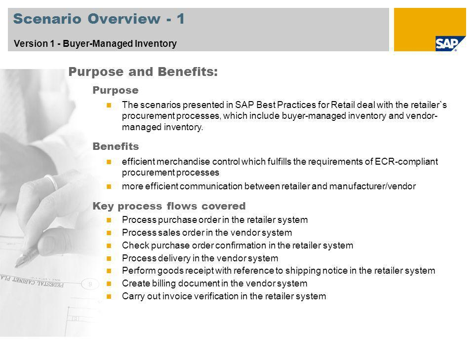 Scenario Overview - 1 Purpose and Benefits: Purpose Benefits