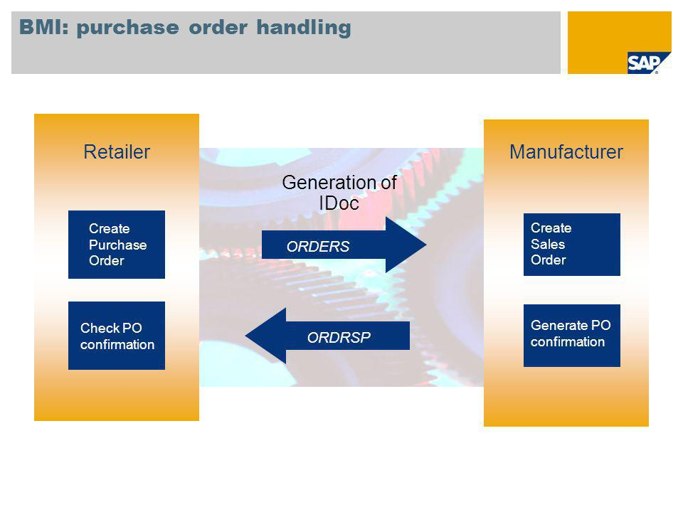 BMI: purchase order handling